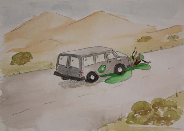 The Fangamer Desert Van meets a sticky end while racing the Desert Bus when it hits a giant bug.