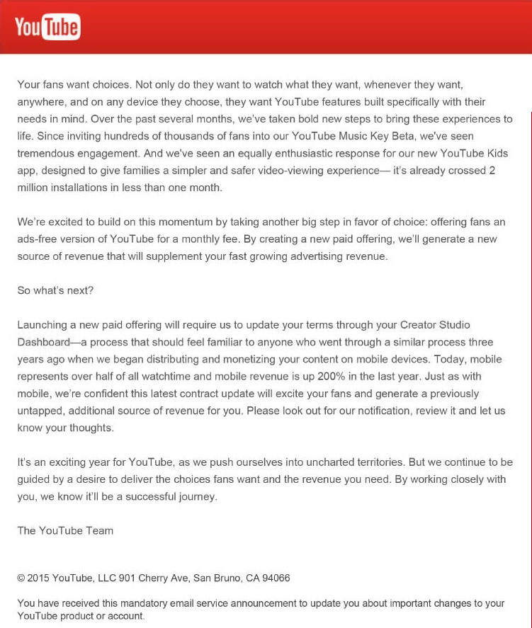 Letter from YouTube to Content Creators