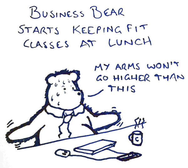 Business Bear Starts Keeping Fit Classes At Lunch