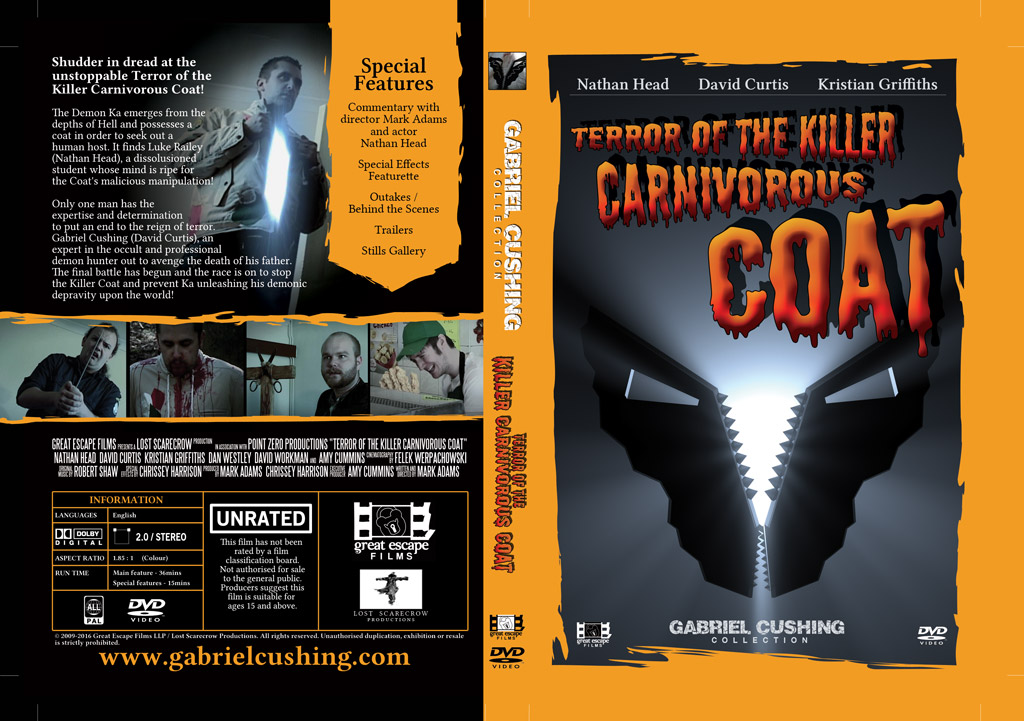 DVD cover design for Terror of the Killer Carnivorous Coat