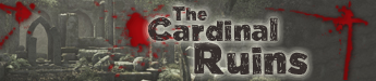 A background of woodland ruins with blood splatters and the title - The Cardinal Ruins