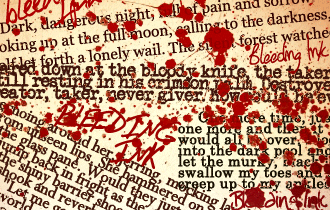 Bleeding Ink - snippets of text and blood splatters on a cream background