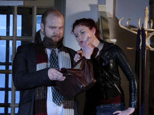 Gabriel and Melanie on set filming Strange Encounters