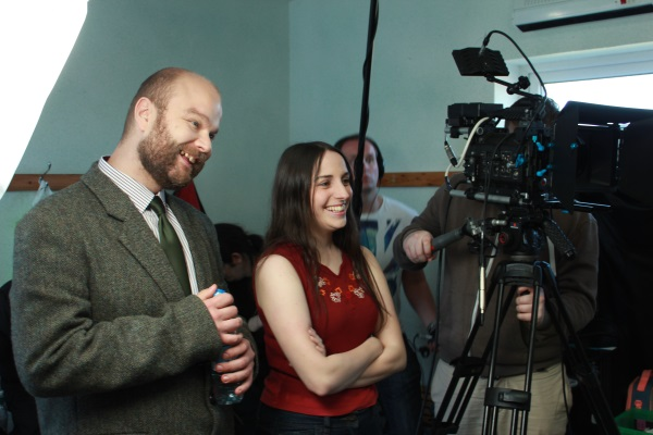 David Curtis (Gabriel Cushing) and Vicki Glover (Melanie Lancley) acting (up) off camera whilst filming the Carnival of Sorrows. Also pictured, Barry Davis (boom) and Felek Werpachowski (camera and DP).