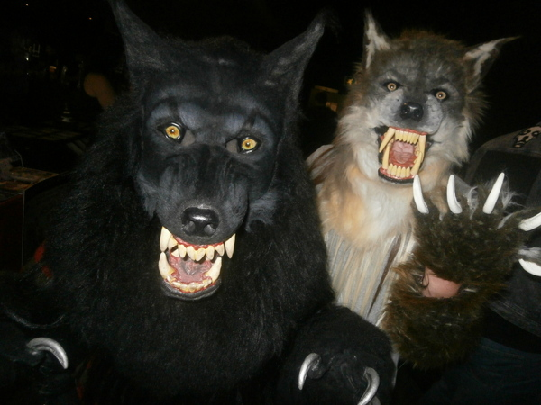 Two people in werewolf costumes