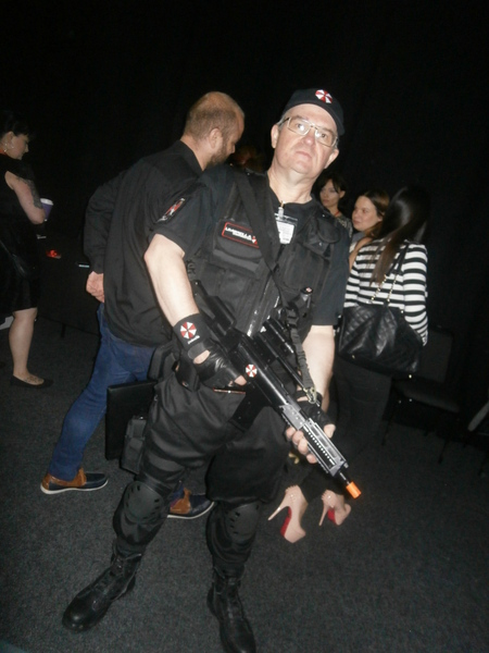 Resident Evil cosplayer Colin Yates dresses as an Umbrella Corp guard